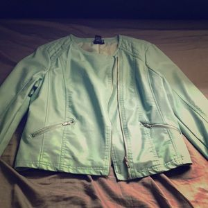 Teal colored leather jacket